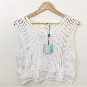 Missguided JCL white knit tank top M/L